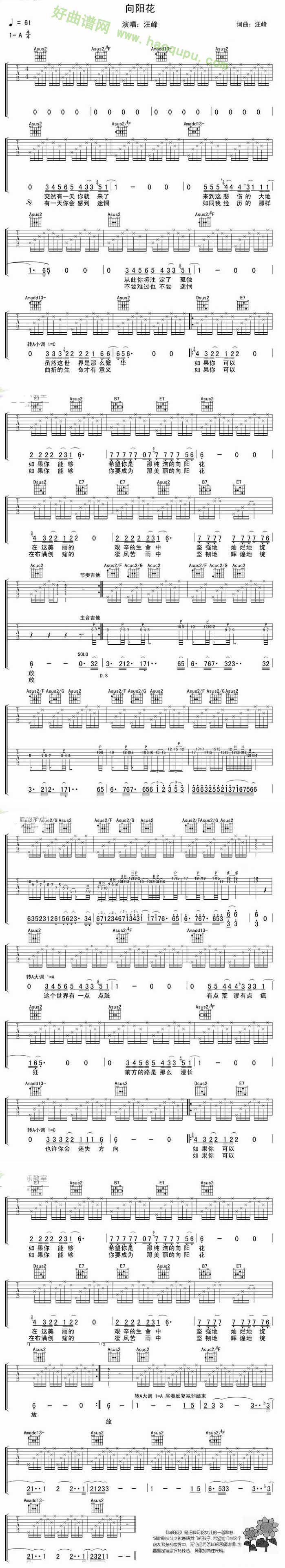 《向阳花》吉他谱图片