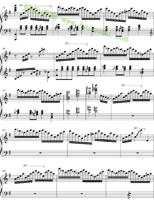 哈利波特主题曲 钢琴谱第5张