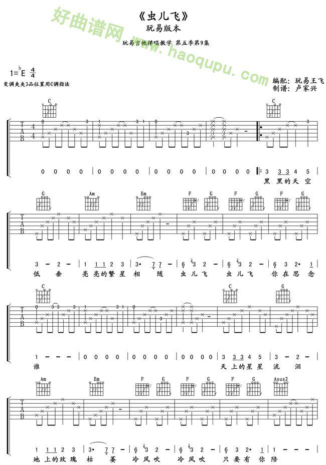 《虫儿飞》吉他谱第1张
