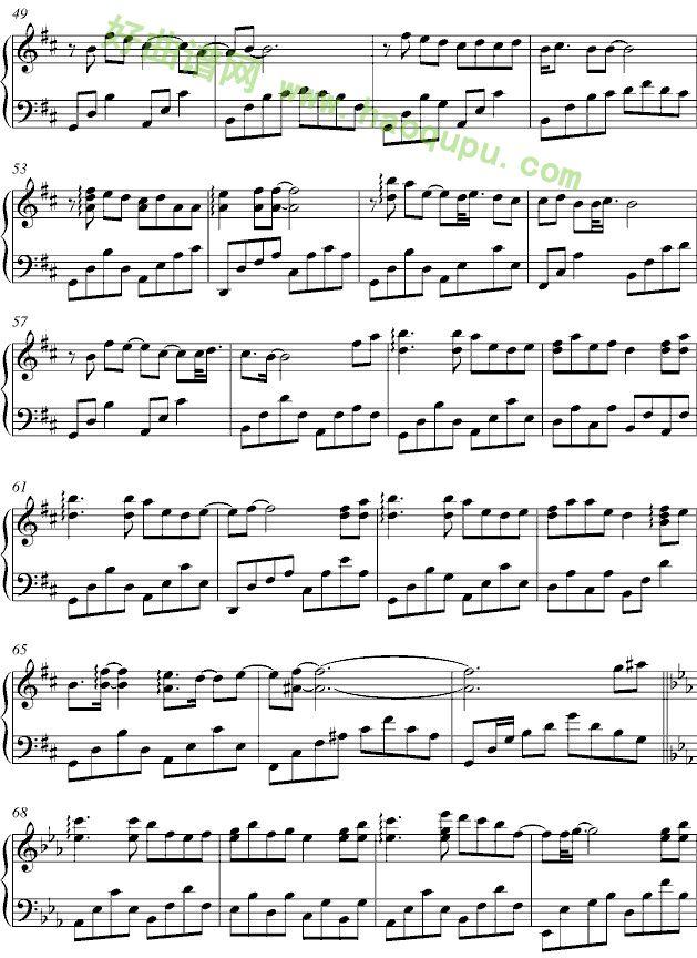 三寸天堂钢琴谱 三个傻瓜钢琴谱 三寸天堂钢琴谱