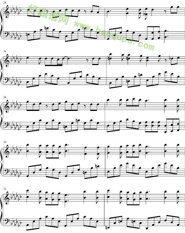 心动简易钢琴曲谱-没那么简单 钢琴谱