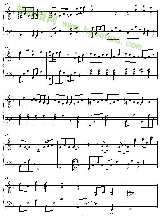 《一首简单的歌》钢琴谱;