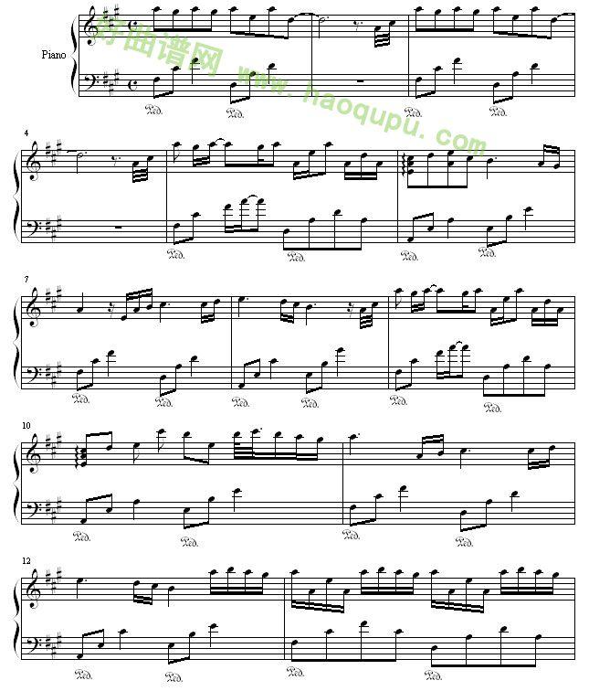 你的心河 River flows in you 钢琴谱 五线谱 好曲谱网
