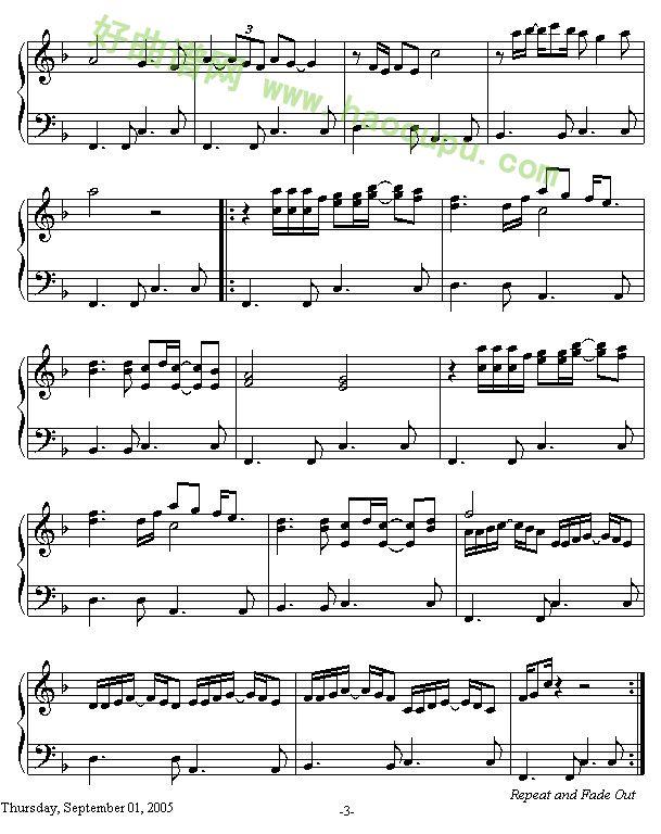《光辉岁月》 - 钢琴谱