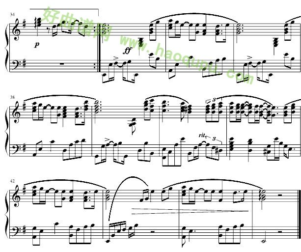 钢琴谱_五线谱图片