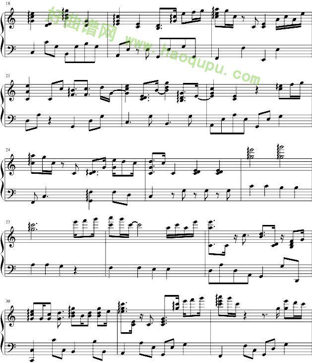 钢琴曲简单的谱子