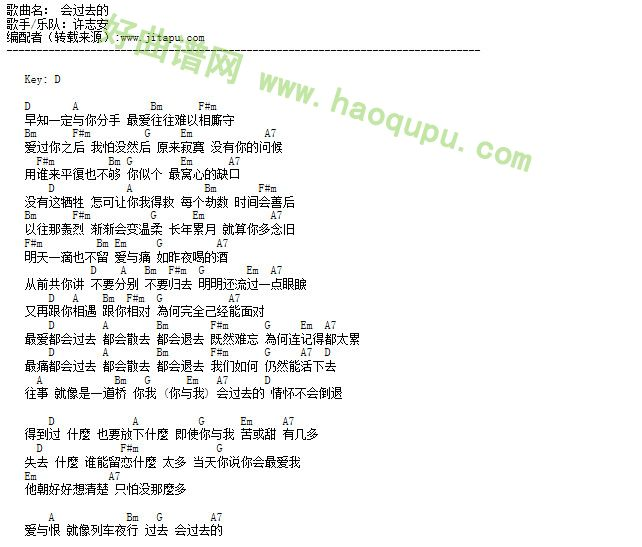 很久以前这首歌的歌谱-《会过去的》是香港实力派歌手许 《借你耳朵听》中,这首歌曲同时