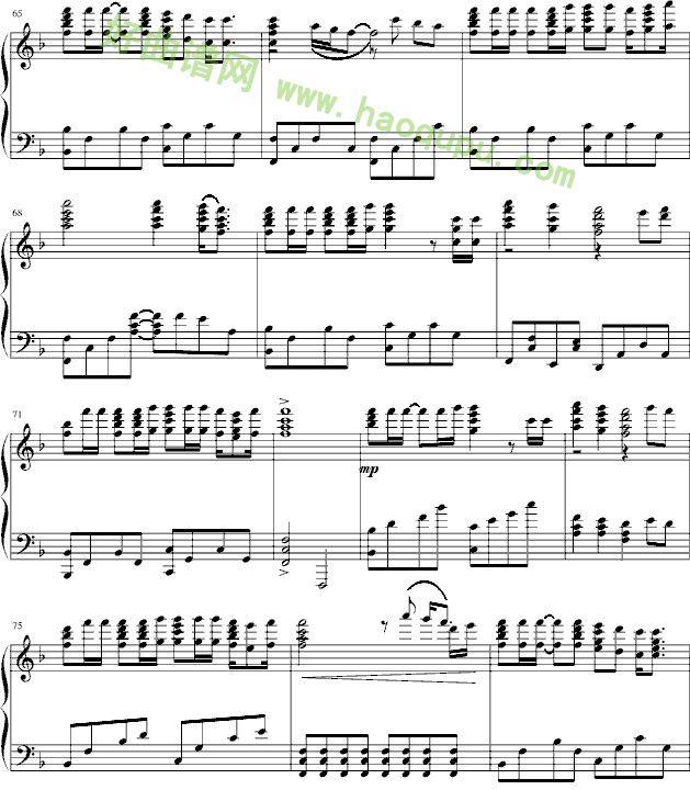 恰空亨德尔钢基3谱子-海阔天空 钢琴谱