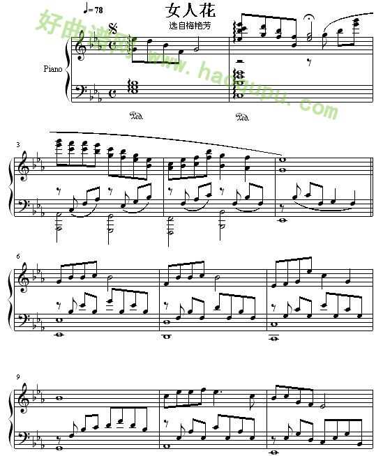 《女人花》 - 钢琴谱_钢琴曲谱