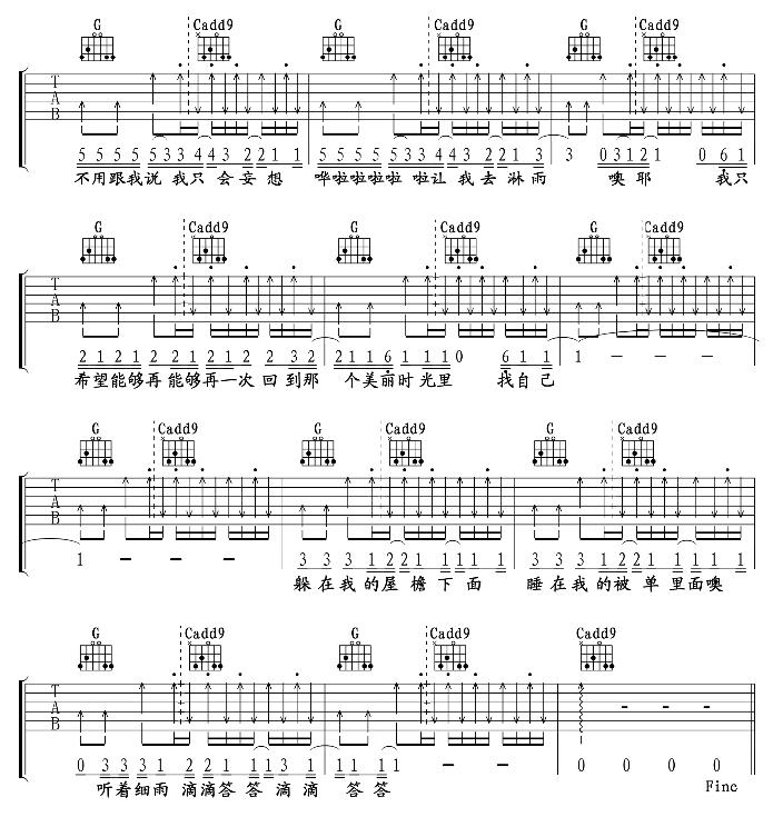 《找自己》 - 吉他谱_吉他曲谱