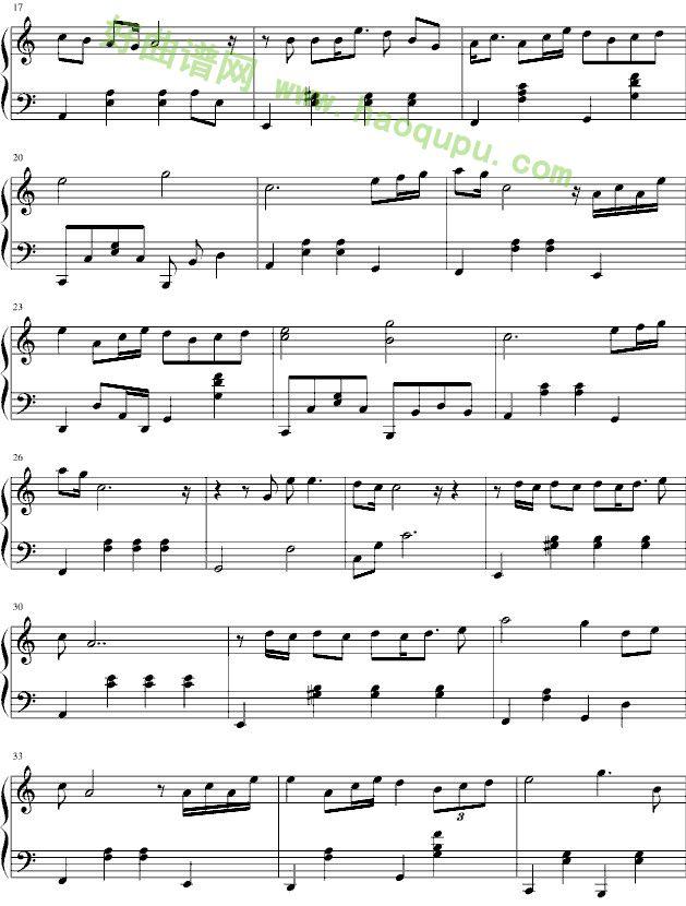 爱很简单 钢琴谱