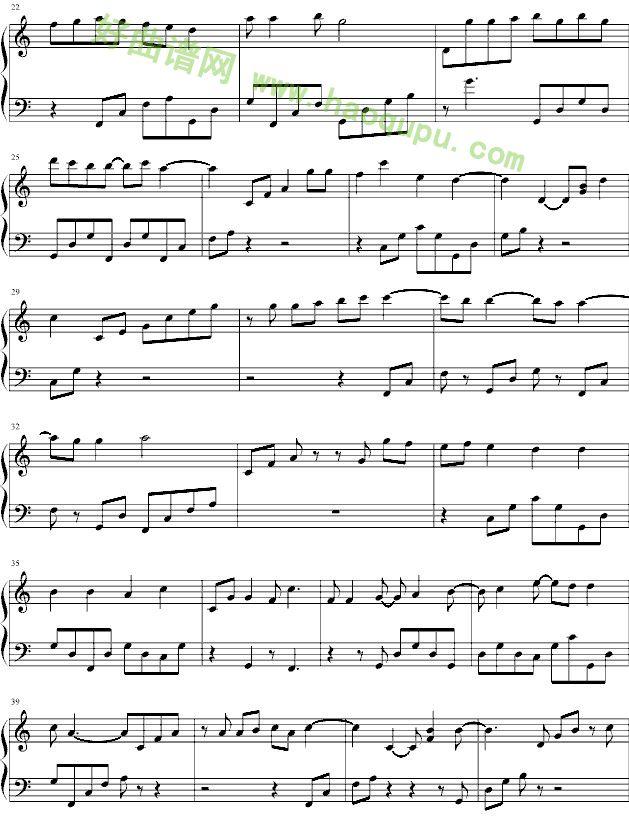 好想告诉你 钢琴谱 五线谱 好曲谱网
