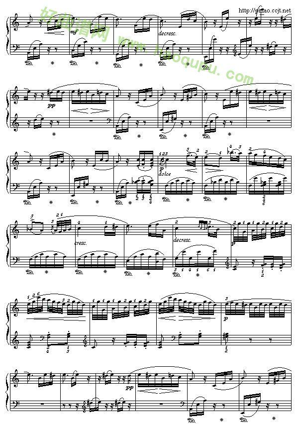 《致爱丽斯》 - 钢琴谱_钢琴曲谱_钢琴歌谱 - 好曲谱网