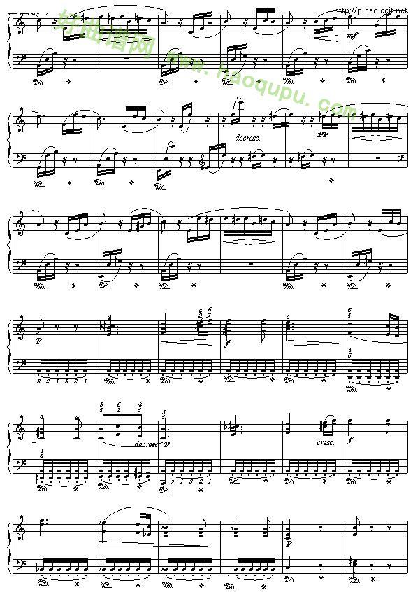 致爱丽丝简谱钢琴曲谱-致爱丽斯 钢琴谱