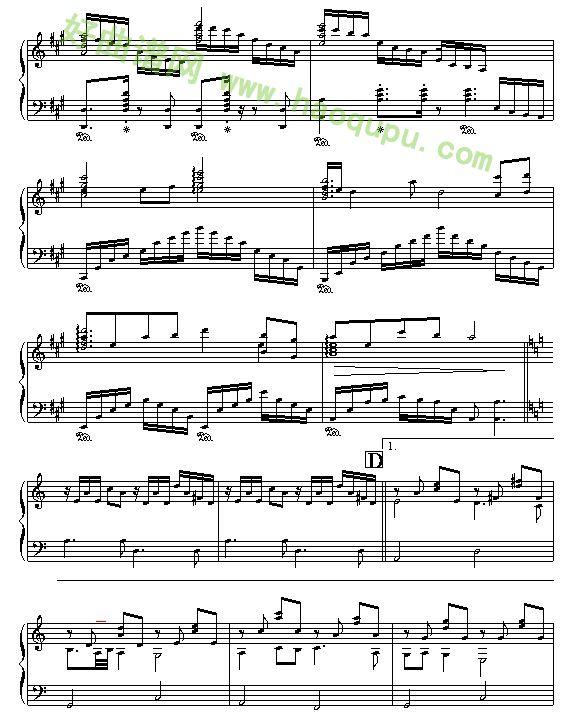《蓝色的爱》 - 钢琴谱图片
