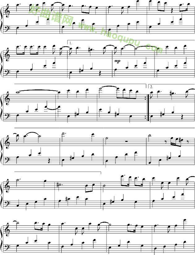 红玫瑰 钢琴谱