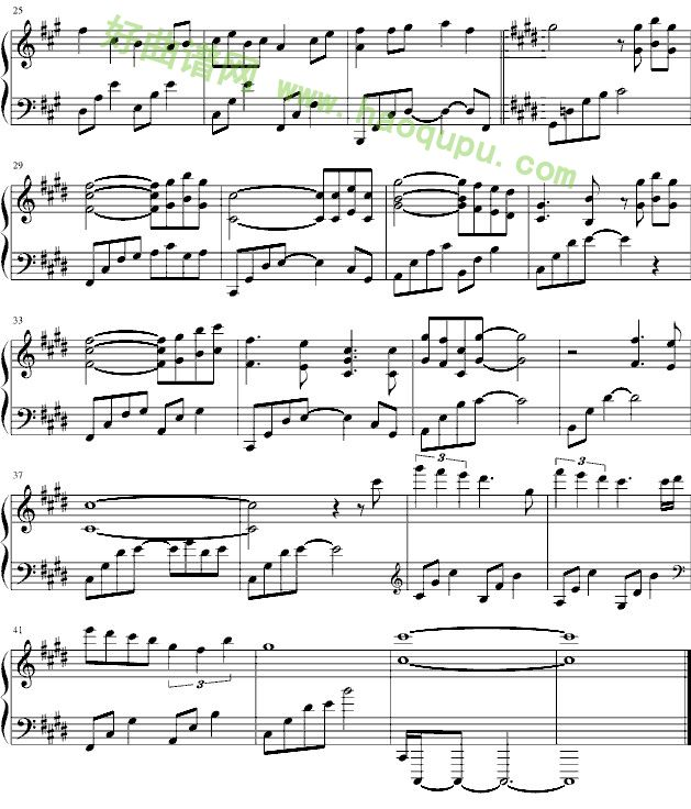 牵绊 仙剑奇侠传五前传主题曲 钢琴谱 五线谱 好曲谱网