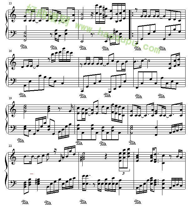 爱乐谱钢琴曲谱-我们的爱 钢琴谱