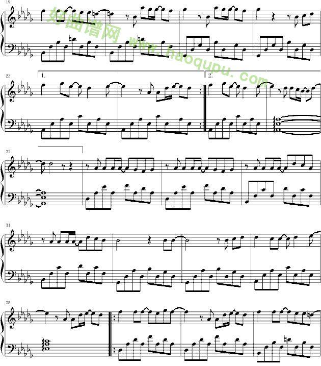 无语本兮钢琴谱