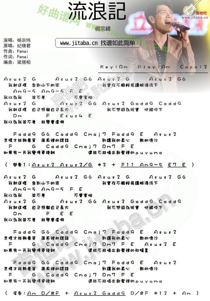 《流浪记》吉他谱简介图片