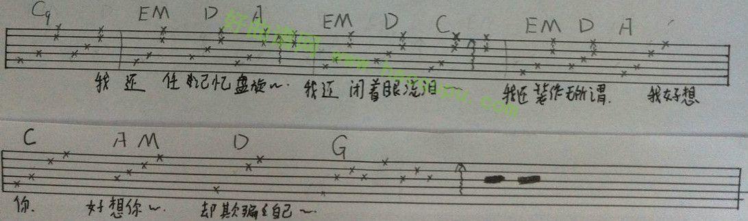 苏打绿《我好想你》吉他谱第3张