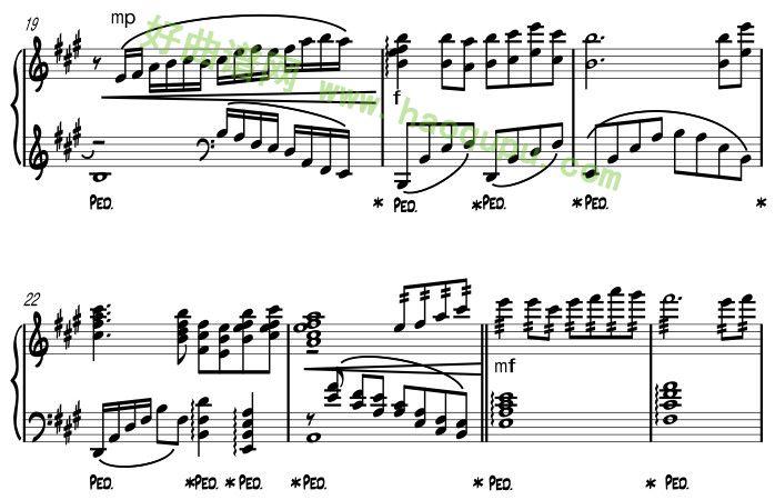 《梅花三弄》钢琴谱第4张