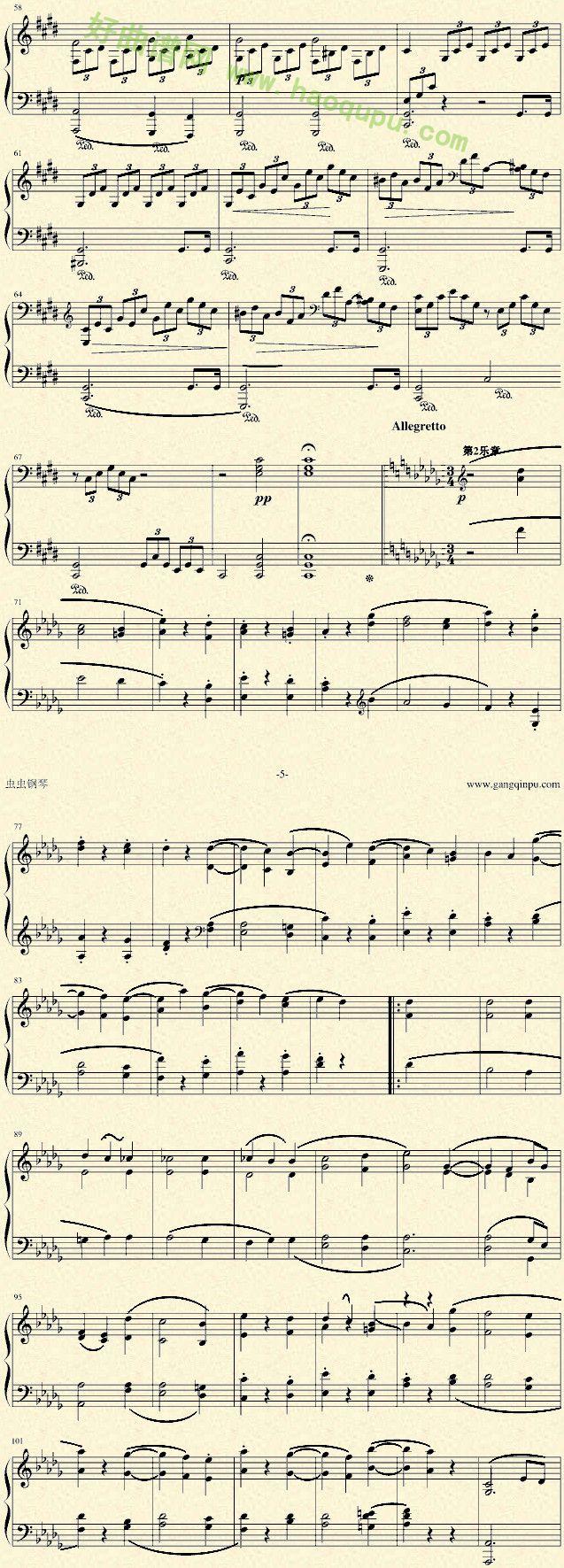 《月光奏鸣曲》 - 钢琴谱图片