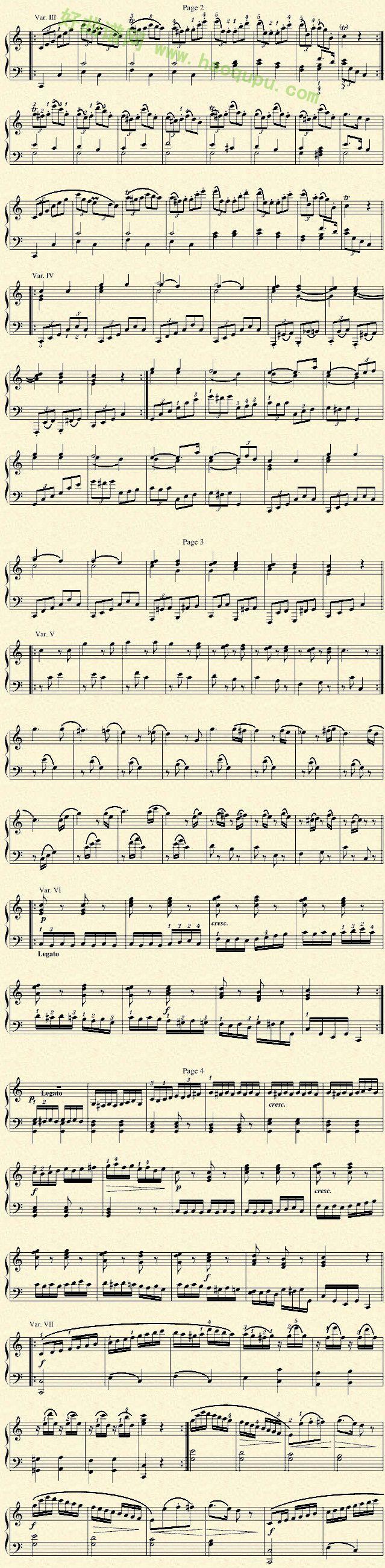 《小星星变奏曲》钢琴谱