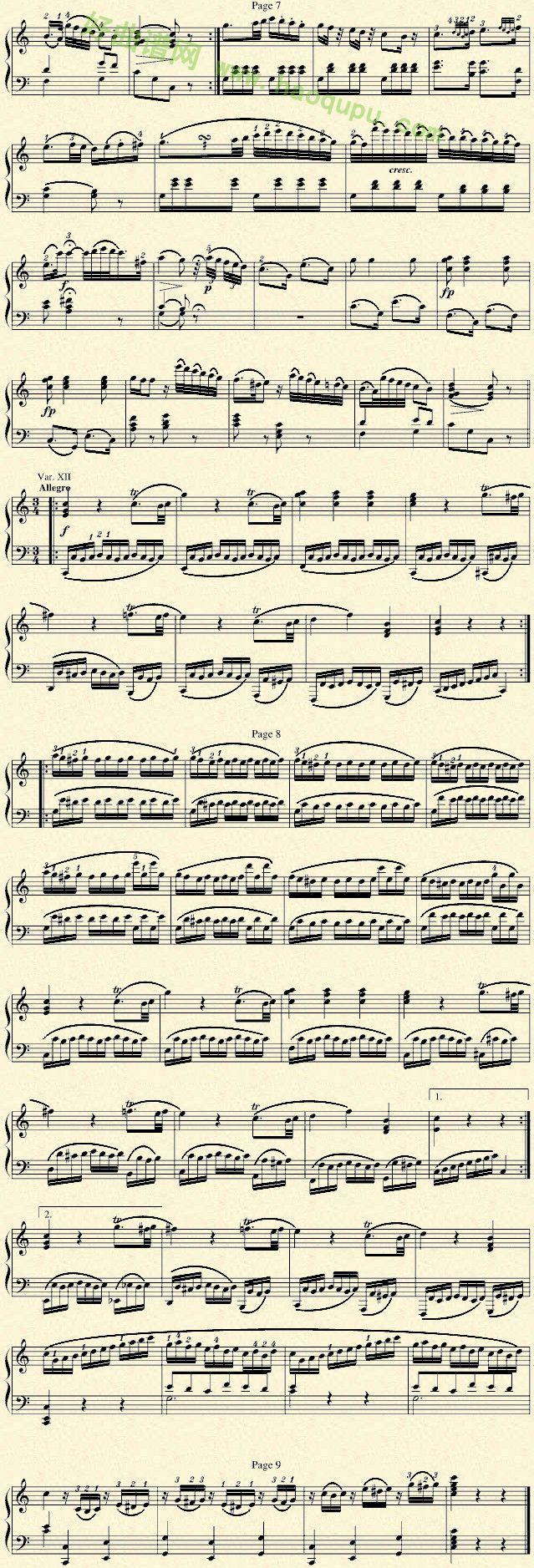 《小星星变奏曲》 - 钢琴谱