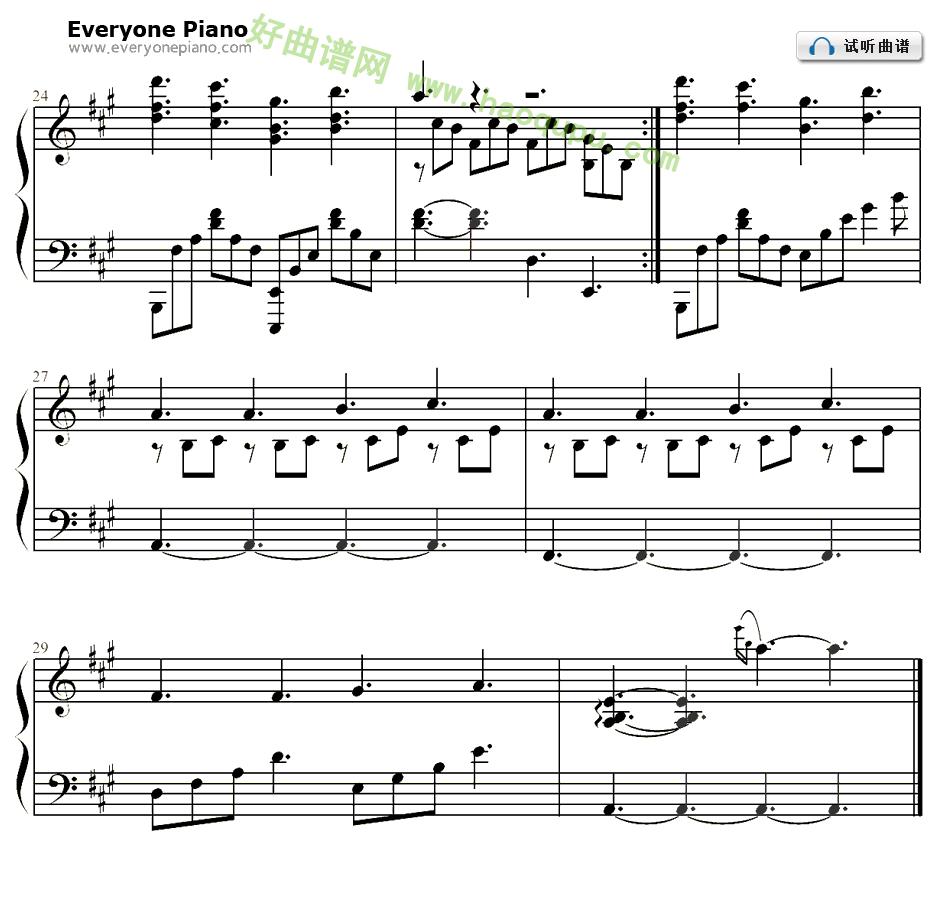 题曲 吴亦凡 钢琴谱 钢琴曲谱 钢琴歌谱 好曲谱网