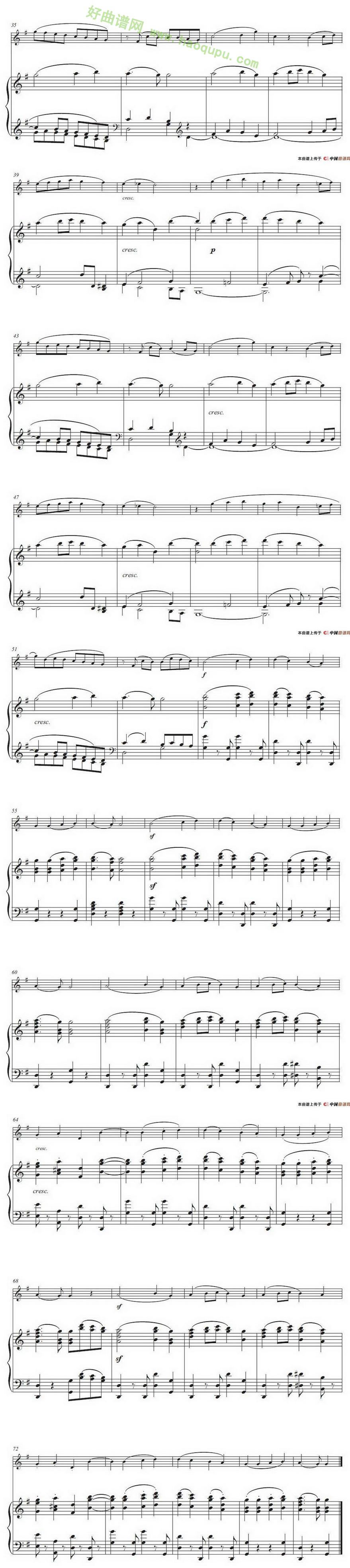 《欢乐颂》(小号独奏 钢琴伴奏谱) 管乐合奏曲谱   来源:好曲谱歌谱网