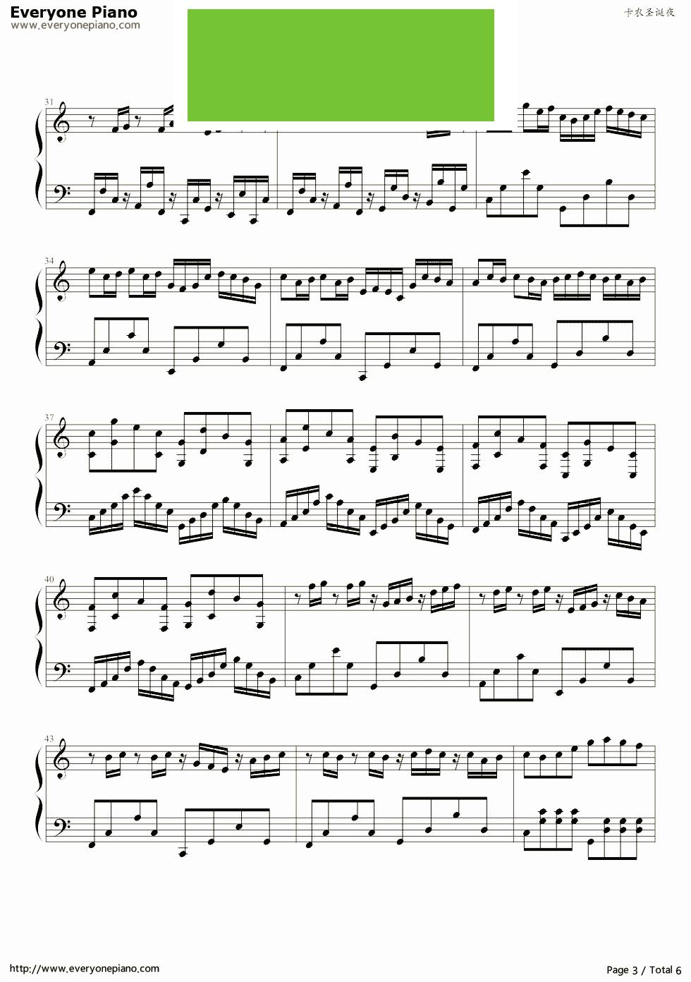 卡农圣诞夜 钢琴谱