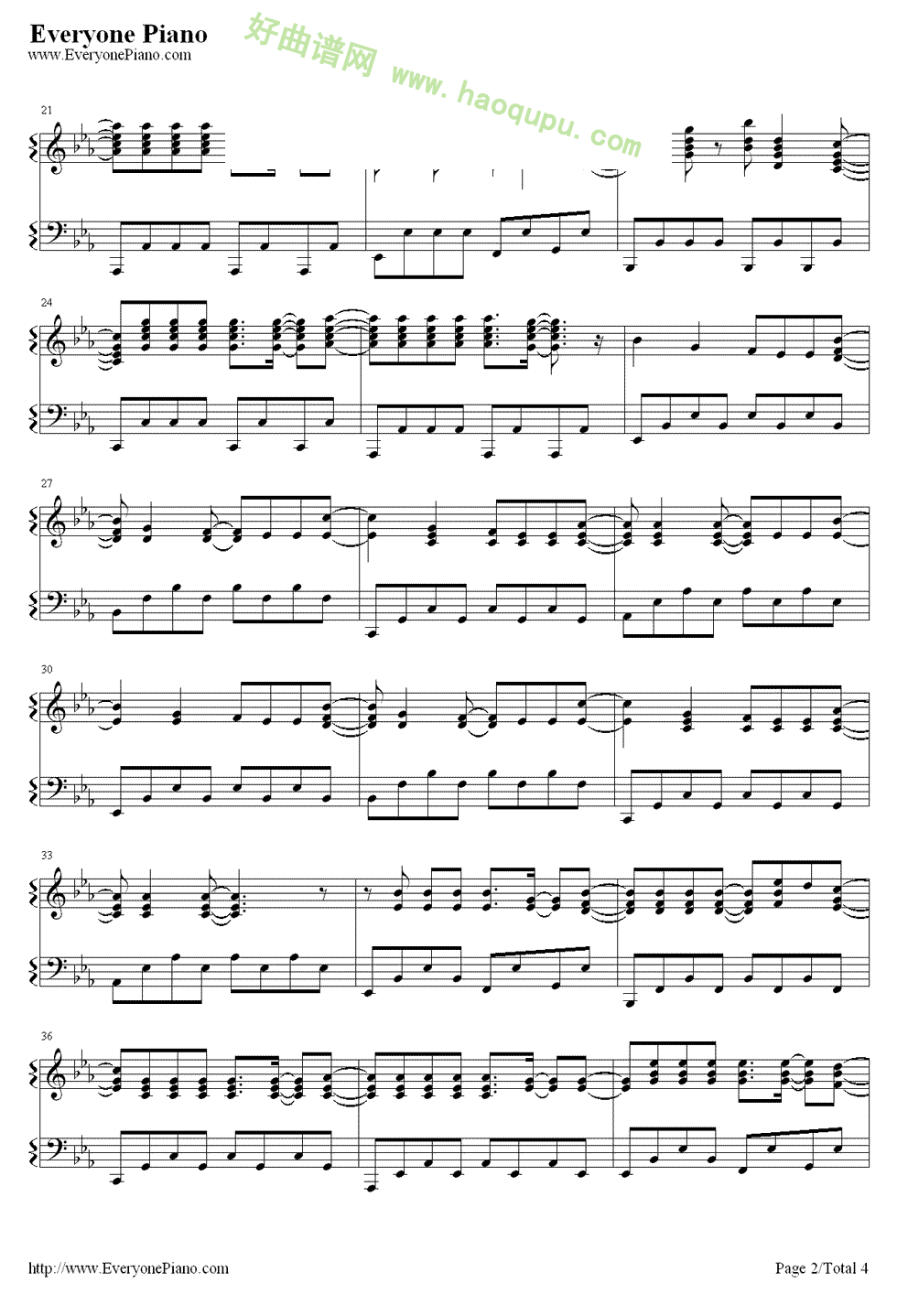gons演唱 钢琴谱