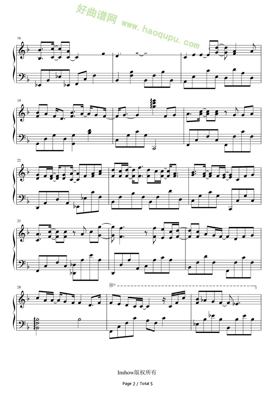 生香 片尾曲 钢琴谱