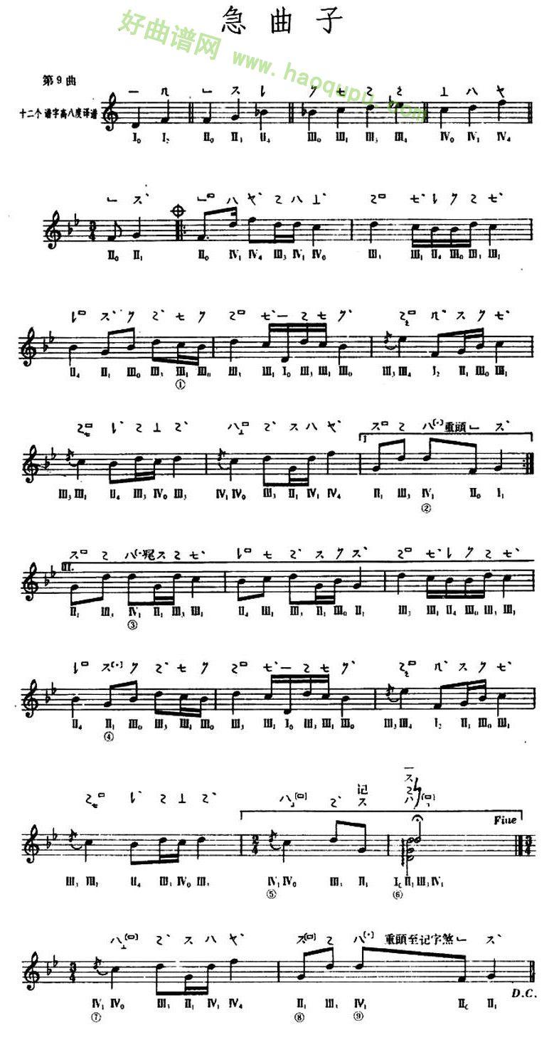 《倾杯乐》 琵琶曲谱