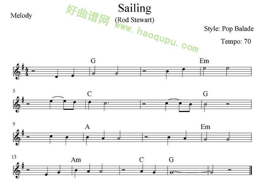 《sailing》 电子琴简谱