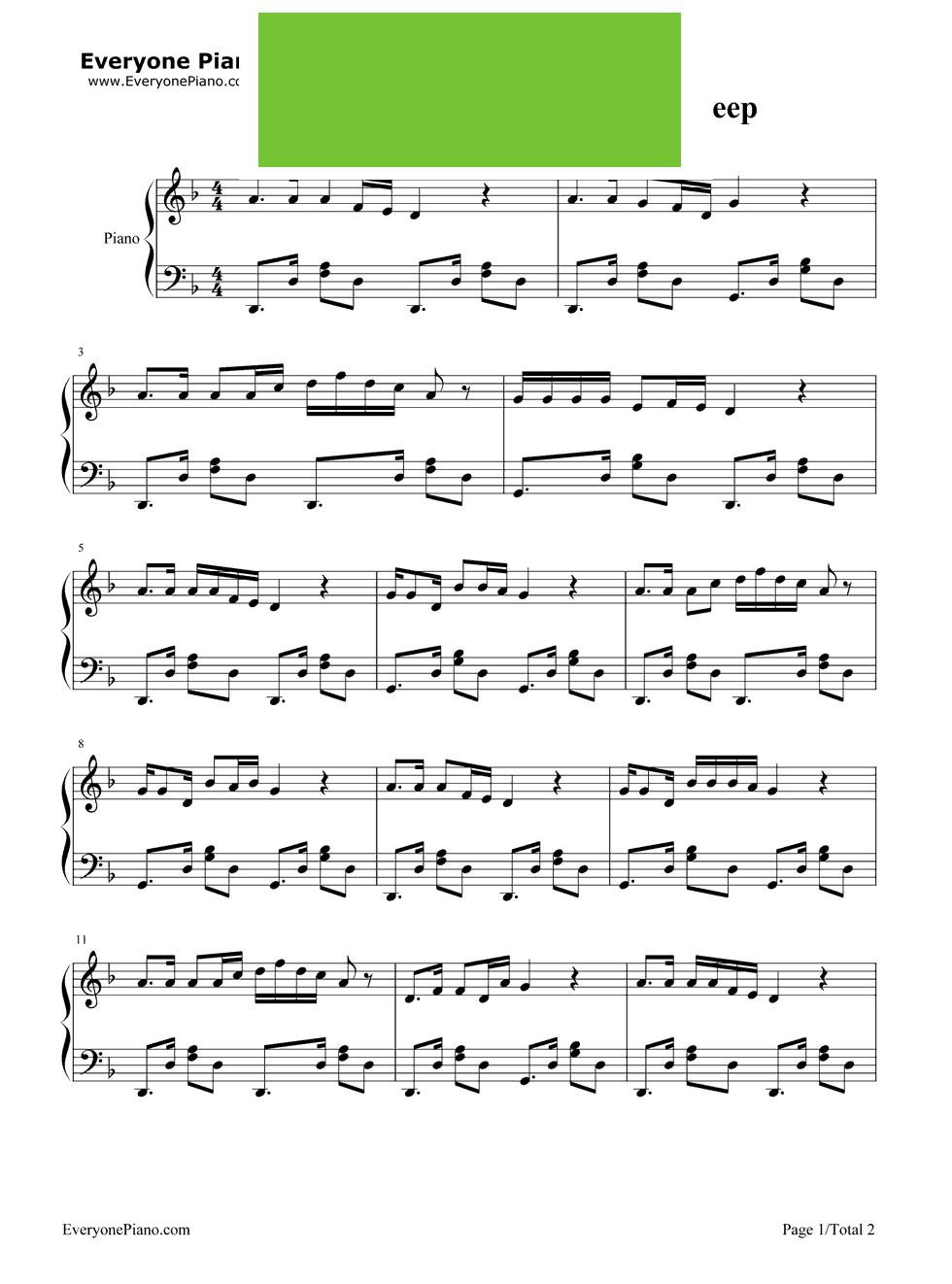 爱上你万岁钢琴谱