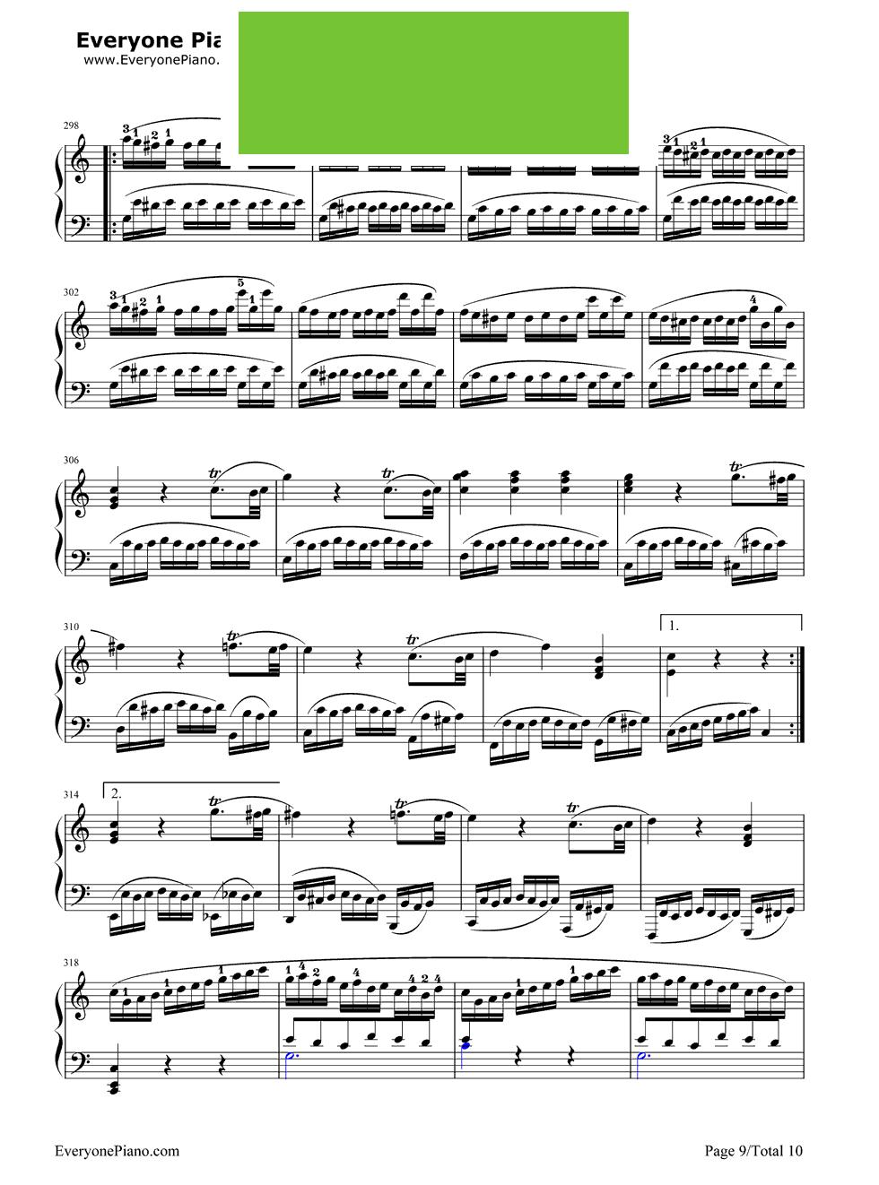 《小星星变奏曲》(莫扎特) - 钢琴谱_钢琴曲谱_钢琴