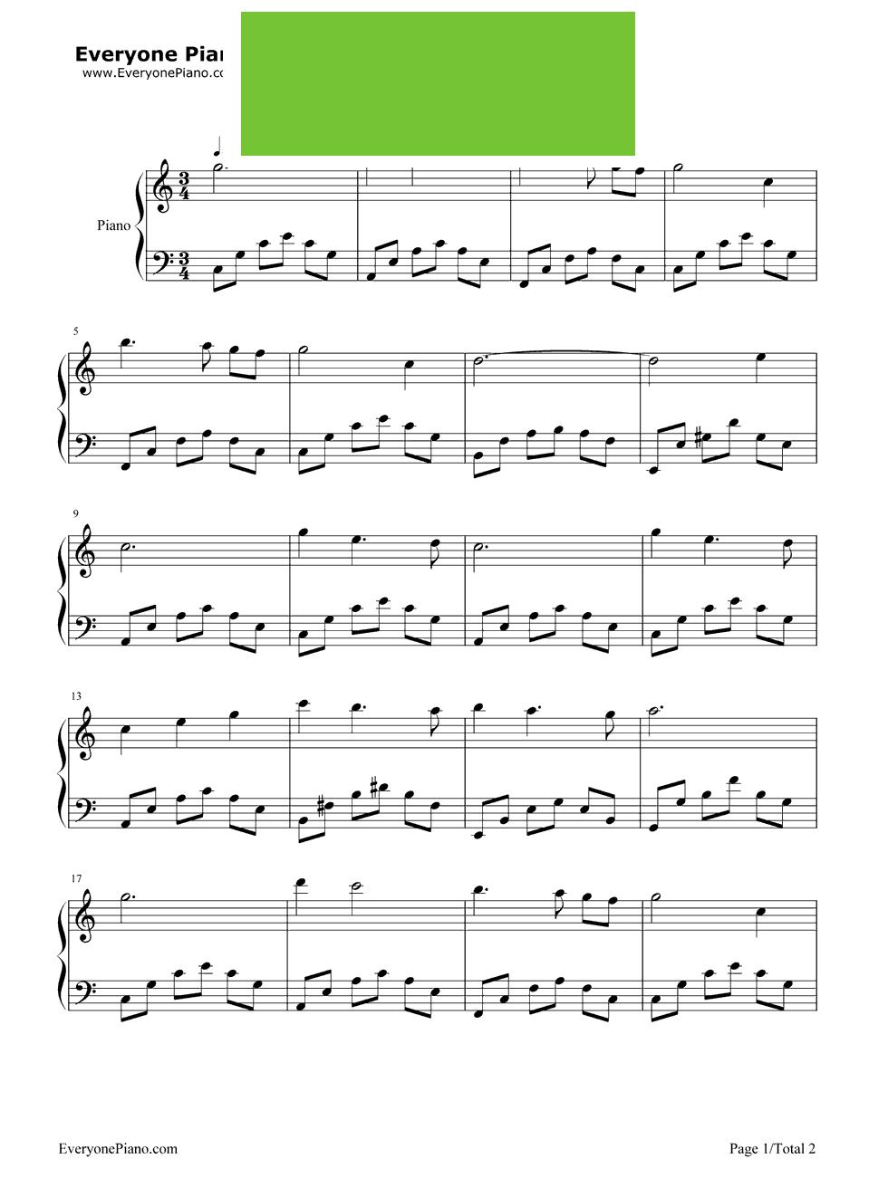 《月亮河》 - 钢琴谱_钢琴曲谱