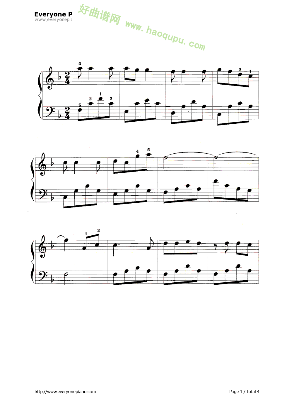 童年的钢琴伴奏谱