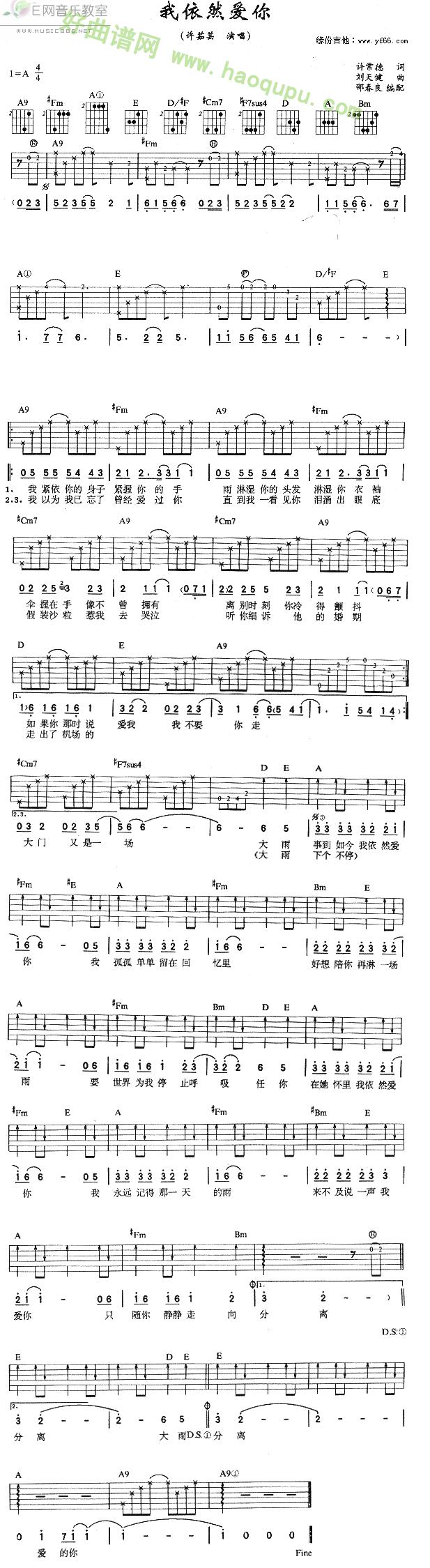 茹芸演唱) - 吉他谱
