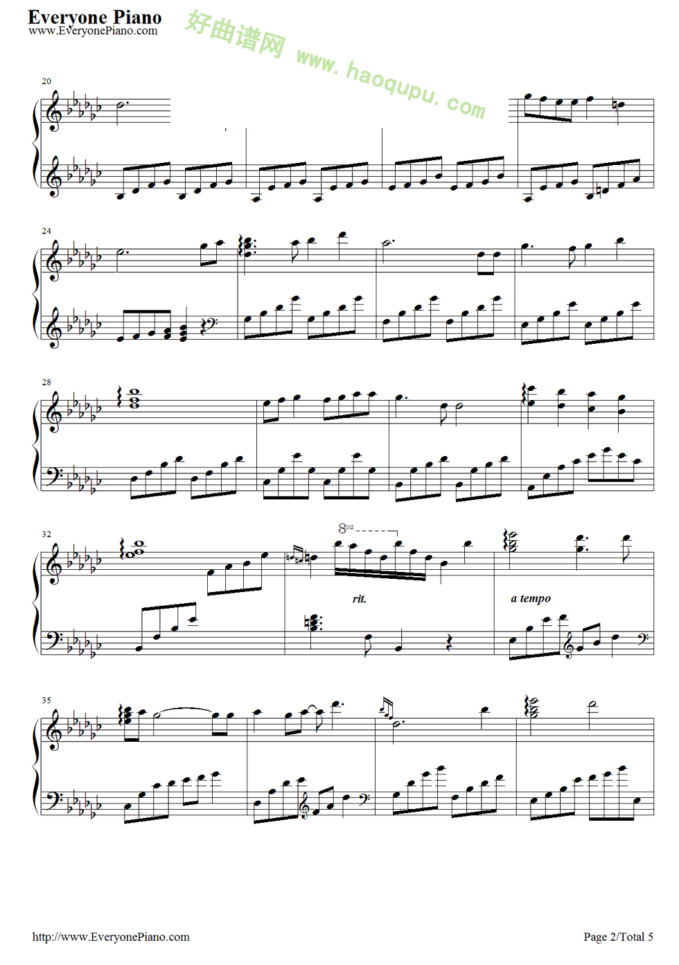 天空之城钢琴曲谱超大分享展示
