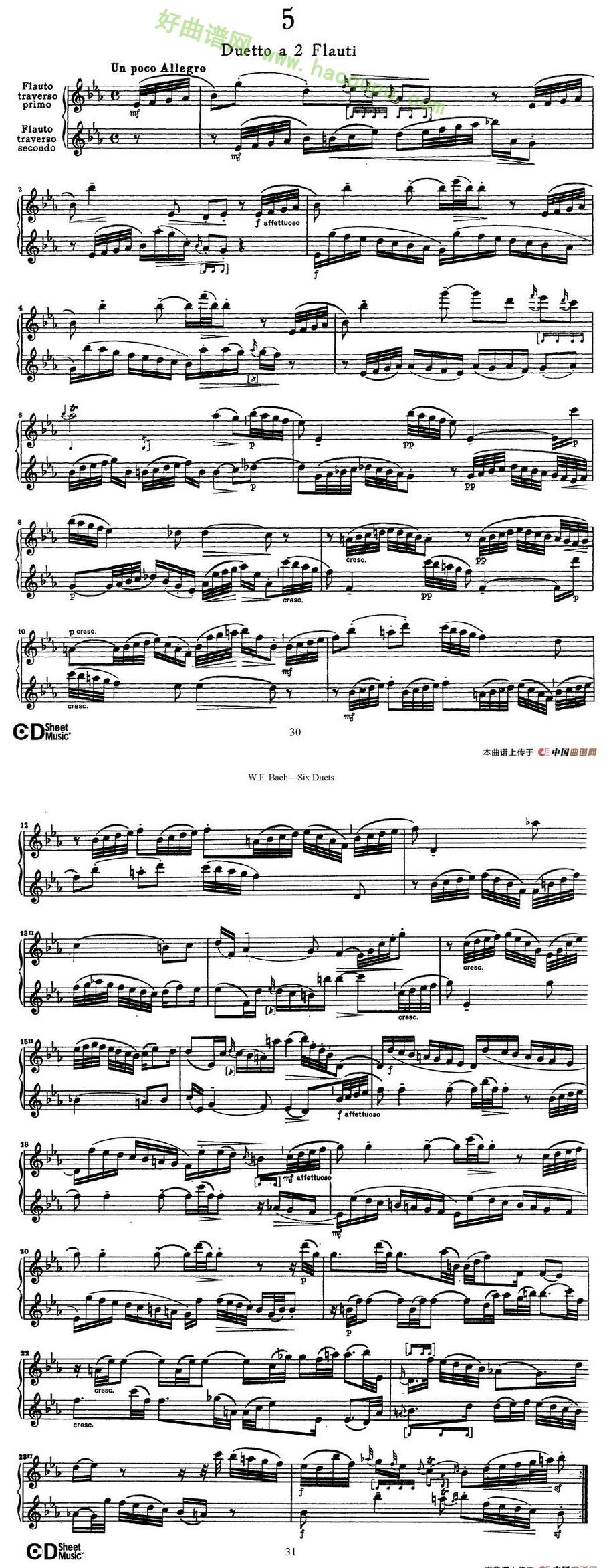 《Six Duets》(6首二重奏)(5)萨克斯简谱第1张