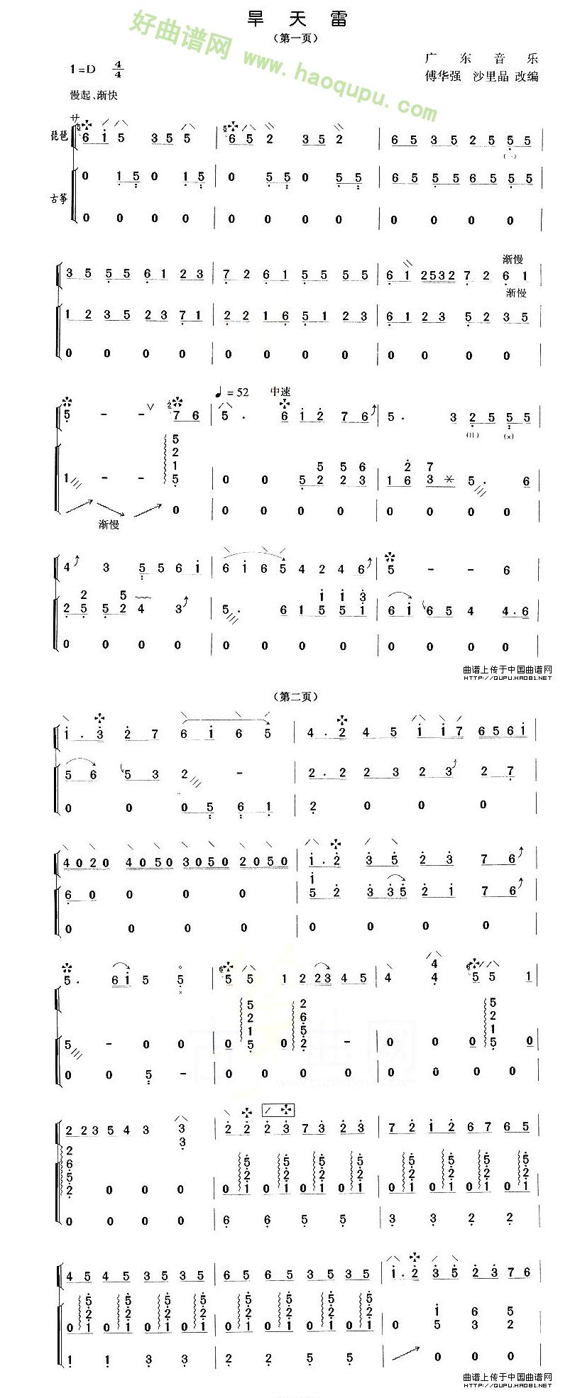 《旱天雷》(琵琶+古筝)琵琶曲谱第1张