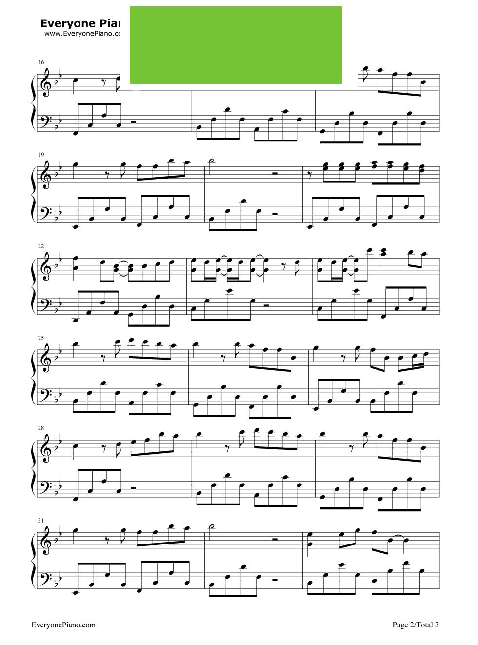 丑八怪c调钢琴谱