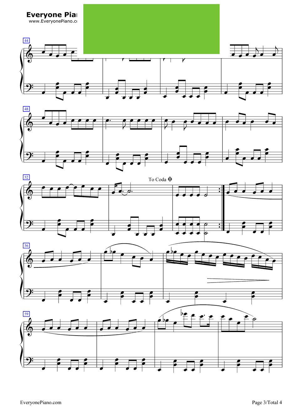 卡农钢琴曲谱简图