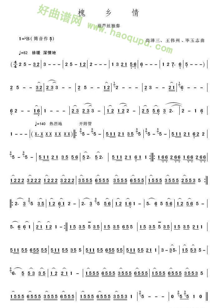 《槐乡情》(葫芦丝独奏)葫芦丝曲谱第1张