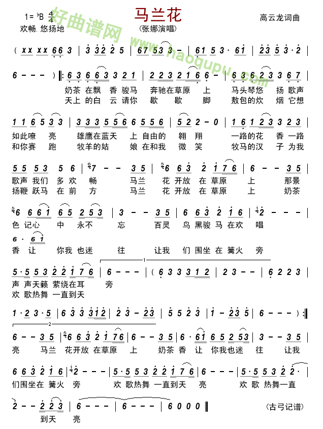 《马兰花》(张娜演唱) 歌曲简谱第1张