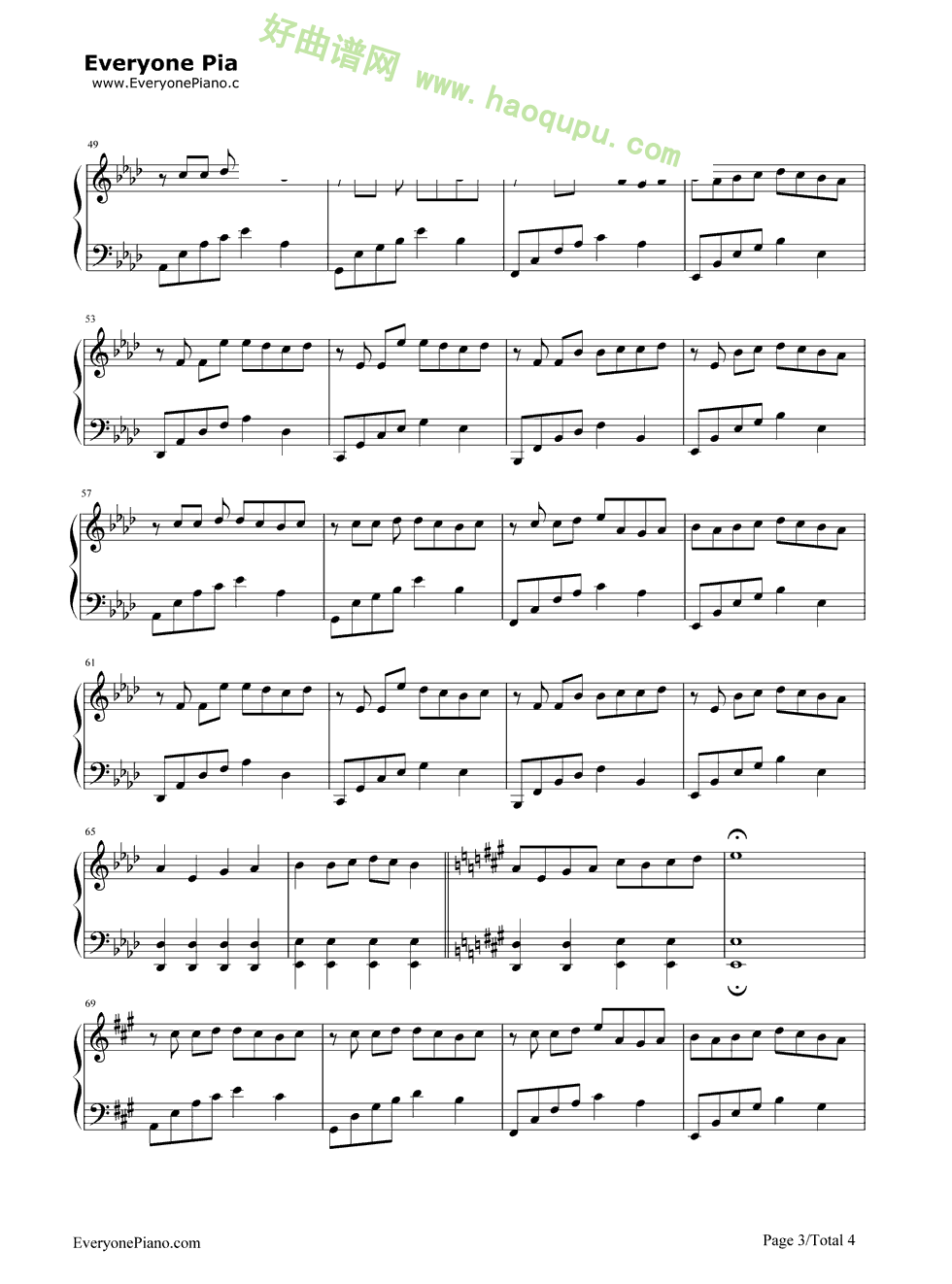 古筝曲谱我的祖国-我以为品冠古筝谱