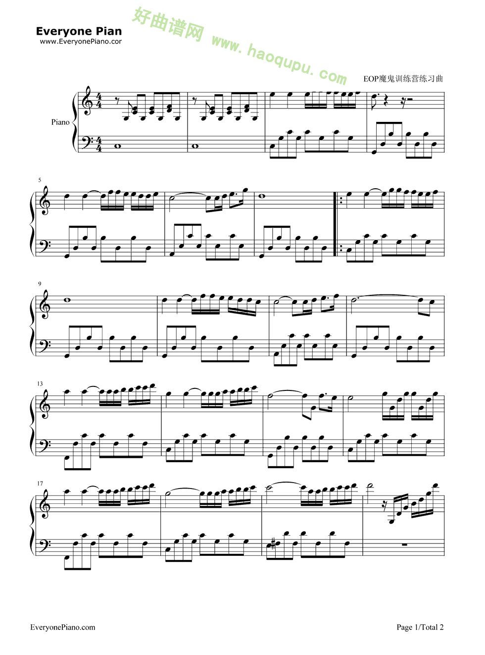 冬季恋歌钢琴简谱